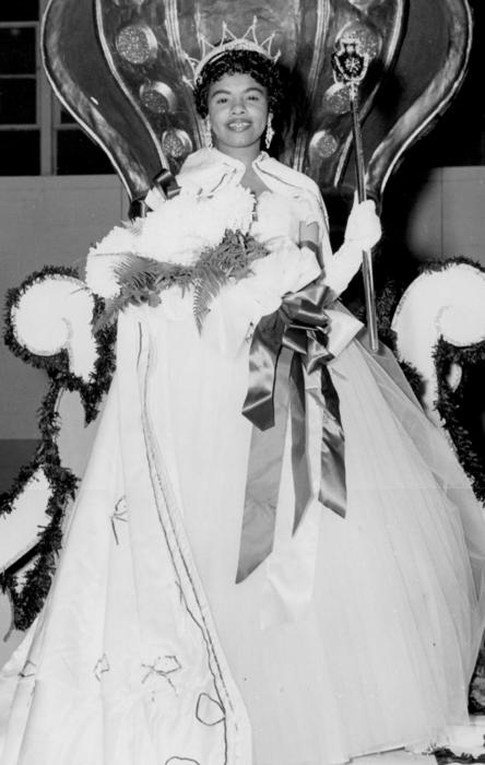 Addie Conley, named campus queen in 1957, seated in gown and regalia., Digitized 2014-09 J. F. Drake Memorial LRC, Alabama A&M University.
