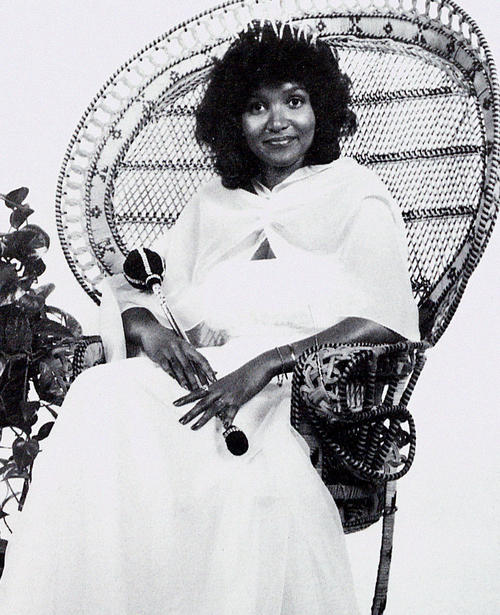 Sheila Grider, named campus queen in 1979, seated in gown and regalia., Digitized 2014-09 J. F. Drake Memorial LRC, Alabama A&M University.