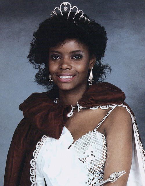 A portrait of Kimberly D. McDonald, named campus queen in 1989, in gown and regalia., Digitized 2014-09 J. F. Drake Memorial LRC, Alabama A&M University.