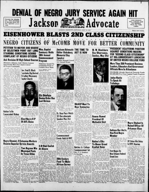Volume 13, Number 31 of the Jackson Advocate; on page 4, an article names Alabama A & M College as one of the members of a research project investigating the effects of social and economic changes upon the rural Negro population.