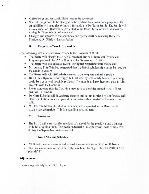 Page 3 of the annual meeting minutes including program of work discussion, purchases, and board meeting schedule., Digitized 2018-06, J. F. Drake Memorial LRC, Alabama A&M University.