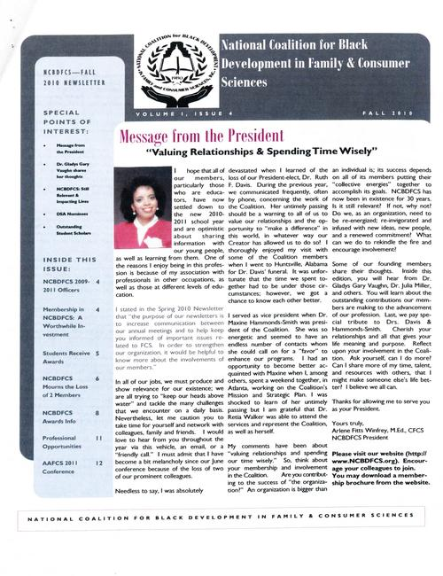 "Page 1 of the newsletter includes a message from the president, Arlene Fitts Winfrey entitled, ""Valuing relationships & spending time wisely."", Digitized 20160604 J. F. Drake Memorial LRC, Alabama A&M University."