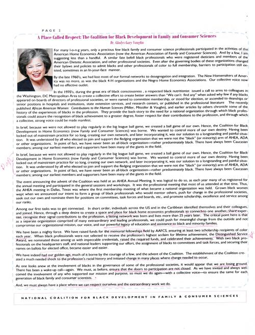 Page 2 of the newsletter includes an article by Dr. Gladys Gary Vaughn who recounts the history of the coalition and calls on members to be open to including any who support the mission of the organization., Digitized 20160604 J. F. Drake Memorial LRC, Alabama A&M University.