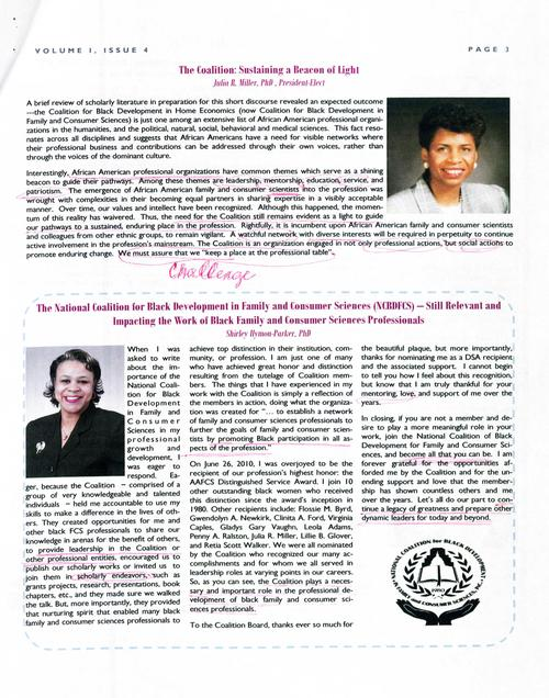 Page 3 of the newsletter includes articles by Julia R. Miller and Shirley Hymon-Parker., Digitized 20160604 J. F. Drake Memorial LRC, Alabama A&M University.