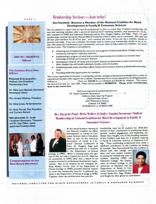 Page 4 of the newsletter includes a membership section and an article by Dr. Raygene Paige, Dr. Retia Walker, and Dr. Gladys Vaughn. It also spotlights the newly elected board members., Digitized 20160604 J. F. Drake Memorial LRC, Alabama A&M University.
