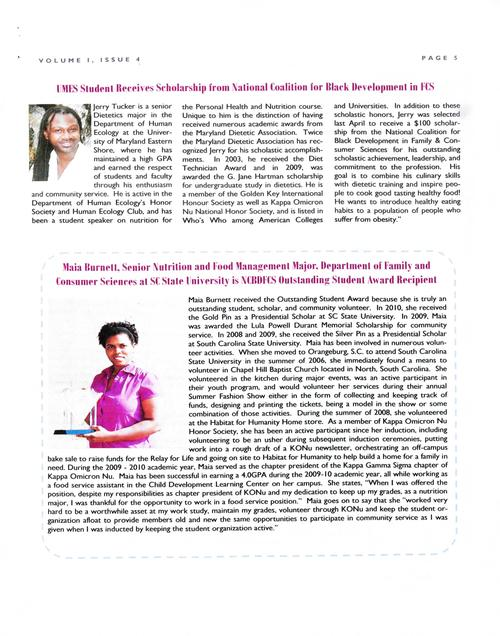 Page 5 of the newsletter spotlights scholarship winner Jerry Tucker and Outstanding Student Award recipient Maia Burnett., Digitized 20160604 J. F. Drake Memorial LRC, Alabama A&M University.