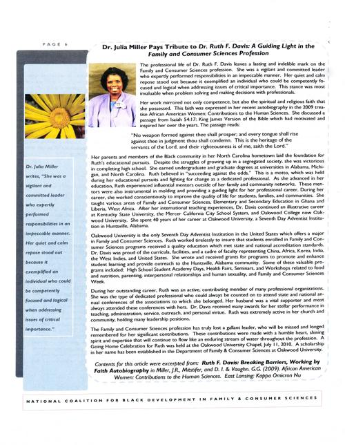 Page 6 of the newsletter contains a tribute to Dr. Ruth F. Davis written by Dr. Julia Miller., Digitized 20160604 J. F. Drake Memorial LRC, Alabama A&M University.