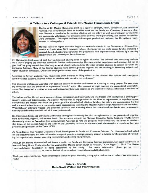 Page 7 of the newsletter contains a tribute to Dr. Maxine Hammonds-Smith written by Retia Scott Walker and Penny Ralston., Digitized 20160604 J. F. Drake Memorial LRC, Alabama A&M University.