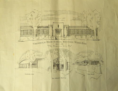 "Fair condition; Promotional 'map' showing sketch illustrations of Trenholm High School, the school's gym, 'the block', and Joe Johnson's Bar-B-Q restaurant. Text reads ""Trenholm High School Reunion Week-End / July 2-5, 1993 / The Memories Live On""."