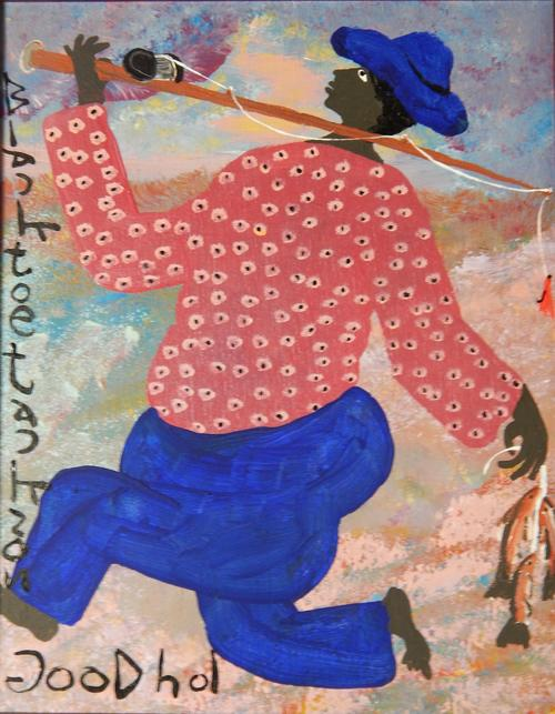 "Depicts a man returning from fishing against a multicolored, abstracted background., Donated to the State Black Archives Research Center & Museum by Velma A. Walker., Donated to the State Black Archives Research Center & Museum by Velma A. Walker., Artist's bio: Black Joe Jackson was born circa 1920 near Atlanta, Georgia to a sharecropper's family.  He was named for the baseball player ""Shoeless Joe"" Jackson and nicknamed by his friends ""Black"" because he was considered too dark skinned to sing in his church choir.  As an older teenager he played in a black bare hand baseball league.  He served in World War II and discovered he could paint while recovering from an injury.  After the war he worked at odd jobs until he took up painting again after retiring.  His paintings are of everyday events, usually with his subjects depicted in bright colors.  His backgrounds are soft, almost dreamlike.  His pieces are easily identified by his bold titles and large signature., Digitized by J.F. Drake Memorial LRC; Alabama A&M University."