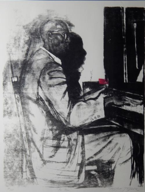 Hand-pulled serigraph.  Black & white with red accent.  Shows an elderly man seated at a piano., Print series 24 of 350., Donated to the State Black Archives Research Center & Museum by Velma A. Walker., Donated to the State Black Archives Research Center & Museum by Velma A. Walker., Artist's bio: In the ten years from the time he came to the attention of the art establishment until his untimely death at 49, William Tolliver (December 17, 1951 - September 01, 2000) was widely considered to be something of a prodigy.  He had no formal training, but seemed to have come into the world as a natural artistic genius. He had the ability to recall the past in almost photographic detail, and a discipline and determination to master his craft. Tolliver left his native Mississippi in 1965 for Los Angeles, where he joined the Job Corps while continuing informal study. After losing his job as a carpenter, he began to sell his paintings. A local gallery started carrying his work and public demand grew so much that he began to paint full time. He eventually moved to Atlanta, where he opened his own gallery in the exclusive Buckhead neighborhood. He exhibited throughout the US including the rotunda of the US Capitol. His work can be found in numerous public and private collections in America and abroad. Tolliver was a versatile artist who handled figurative subjects, landscapes and semi-abstracts; he is generally considered to be a master of color, harmony, and design., Digitized by J.F. Drake Memorial LRC; Alabama A&M University.