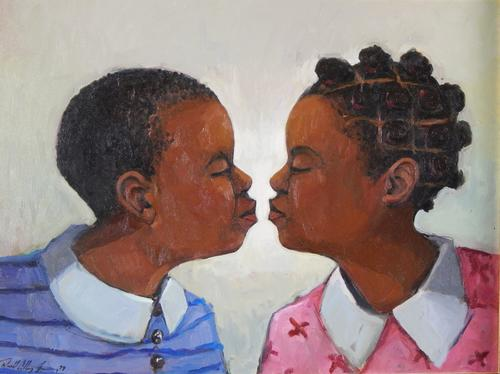 Shows two young people, eyes closed, preparing to kiss., Donated to the State Black Archives Research Center & Museum by Velma A. Walker., Donated to the State Black Archives Research Center & Museum by Velma A. Walker., Artist's bio: Calloway is a Detroit native who has been working in painting and sculpture for over three decades., Digitized by J.F. Drake Memorial LRC; Alabama A&M University.