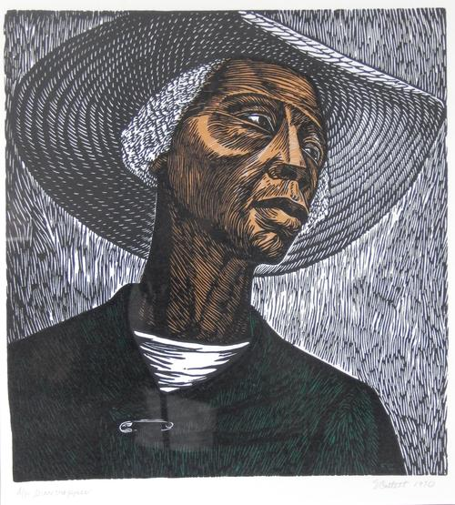 "One of Catlett's most famous prints.  Depicts a female farm worker who, though hardened by work, appears dignified and resolute.  ""A/P Sharecropper"" and ""E Catlett 1970"" written in pencil at the bottom margin., Donated to the State Black Archives Research Center & Museum by Velma A. Walker., Donated to the State Black Archives Research Center & Museum by Velma A. Walker., Artist's bio: Born in Washington, D.C., Elizabeth Catlett Mora (April 15, 1915 - 2013 April 2, 2012) was best known as a sculptor and printmaker and is considered one of the first black feminist artists. After receiving a BS in design from Howard University, she became the first student to receive an MFA from the University of Iowa School of Art. She later became the first female professor of sculpture at the National Autonomous University of Mexico, and obtained Mexican citizenship. Her work - including a number of notable outdoor sculptures - is on display in many of the world's most venerable art museums., Digitized by J.F. Drake Memorial LRC; Alabama A&M University."