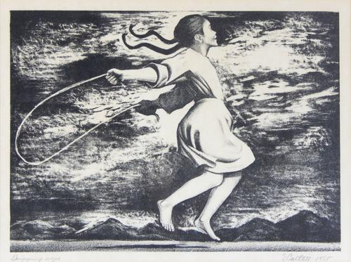 Image of a girl jumping rope.  Title and artist's signature written in pencil at the bottom margin., Donated to the State Black Archives Research Center & Museum by Velma A. Walker., Donated to the State Black Archives Research Center & Museum by Velma A. Walker., Artist's bio: Born in Washington, D.C., Elizabeth Catlett Mora (April 15, 1915 - 2013 April 2, 2012) is considered one of the first black feminist artists. She is best known for the politically charged, expressionistic sculptures and prints she produced during the 1960s and 1970s. The youngest of three children, she was born in Washington DC; both her parents were teachers. Catlett graduated cum laude from Howard University and, in 1940, was the first student to earn the Master of Fine Arts degree in sculpture at the University of Iowa. At Iowa, she was influenced by American landscape painter Grant Wood, who taught his students to work with subjects they knew best. It was then that Catlett began to focus her art on African Americans., Digitized by J.F. Drake Memorial LRC; Alabama A&M University.