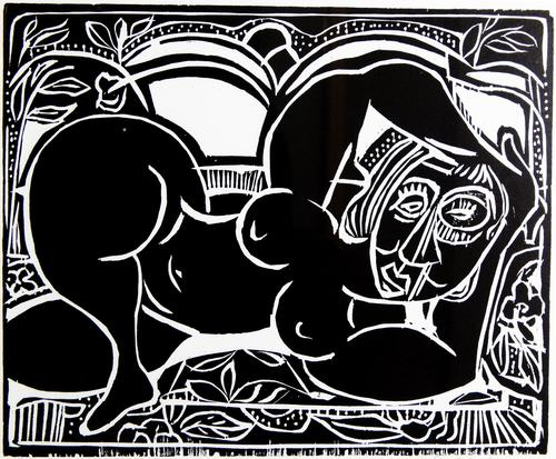 Depicts a reclining, nude woman.  The image is characterized by bold, starkly cut lines and design elements reminiscent of traditional African artwork., Donated to the State Black Archives Research Center & Museum by Velma A. Walker., Donated to the State Black Archives Research Center & Museum by Velma A. Walker., Artist's bio: Scholar and artist David Driskell is regarded as one of the world's leading authorities on African American art. Born at Eatonton, Georgia in 1931, he was educated in North Carolina's public schools and earned his undergraduate degree at Howard University; he received a Master of Fine Arts degree from Catholic University in Washington, DC, and pursued post-graduate studies in art history at the Netherlands Institute for the History of Art. Driskell has contributed significantly to the study of the role of African American artists in society. He has authored five books, co-authored four others, and published more than forty catalogs. He has lectured extensively around the world. In 1998 the University of Maryland established the Driskell Center for the Study of the African Diaspora, honoring his forty-four years as an artist, educator, philanthropist, collector, and historian., Digitized by J.F. Drake Memorial LRC; Alabama A&M University.