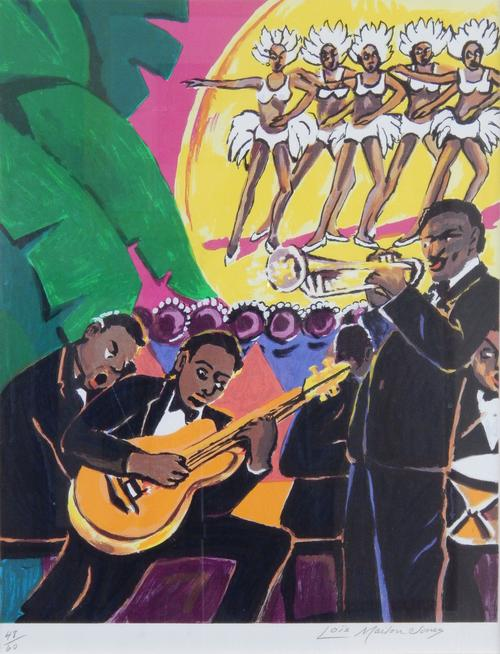 "Depicts a jazz band and chorus line.  ""48/60"" and the artist's signature appear in pencil at the bottom margin., Donated to the State Black Archives Research Center & Museum by Velma A. Walker., Donated to the State Black Archives Research Center & Museum by Velma A. Walker., Artist's bio: Lois Mailou Jones (November 3, 1905 - 2013 June 9, 1998) decided early in her career that she would become a recognized artist - no easy task for an African American girl born in the beginning of the twentieth century. Born in Boston in 1905, Jones showed an early interest in art. She attended the High School of Practical Arts there, winning scholarships for study at the Boston Museum of Fine Arts, Boston. While she did enjoy a successful career in textiles, selling her bold designs to department stores and manufacturers, she soon realized this work was completely anonymous and decided to focus on a career as a fine artist. In 1929, Jones formed and chaired the art department at Palmer Memorial Institute in North Carolina. She was later recruited to teach at Howard University in Washington DC, where she taught for forty-seven years, mentoring hundreds of students on the practicalities of an art career. The richness of Jones' life and experiences, from the streets of Paris to the Harlem Renaissance to the Caribbean, is recorded in hundreds of her canvasses as well as in the passion and discipline she communicated to some 2,500 students., Digitized by J.F. Drake Memorial LRC; Alabama A&M University."