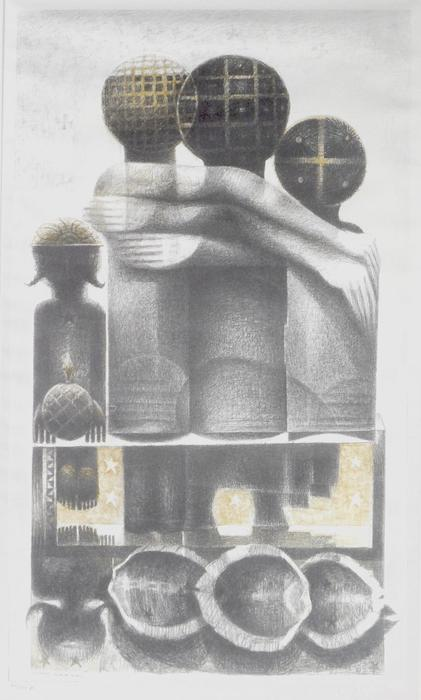 "Depicts a highly stylized image of a family, and includes African-inspired symbols and design elements typical of Biggers' work., Donated to the State Black Archives Research Center & Museum by Velma A. Walker., Donated to the State Black Archives Research Center & Museum by Velma A. Walker., Artist's bio: Dr. John T. Biggers (April 13, 1924 - 2013 January 25, 2001), an internationally acclaimed painter, sculptor, teacher, and philosopher was born in Gastonia, NC. Biggers explored his own life and heritage through the study of art at the Hampton Institute (now Hampton University), where his talent was encouraged and nurtured by instructor Viktor Lowebfeld. In 1943, Dr. Biggers' work was featured in the exhibition ""Young Negro Art"" at the Museum of Modern Art in NYC. Six years later he relocated to Houston and established the art department at Texas Southern University, where he served for more than thirty years. In 1957 he received a UNESCO fellowship enabling him to become one of the first African American artists to visit Africa. His work was profoundly influenced by this experience. Dr. Biggers retired from teaching in 1983 and devoted himself exclusively to art. His unique talent, passion, and intellect have helped to shape this history of African American art, and is work can be found in major collections worldwide., Digitized by J.F. Drake Memorial LRC; Alabama A&M University."