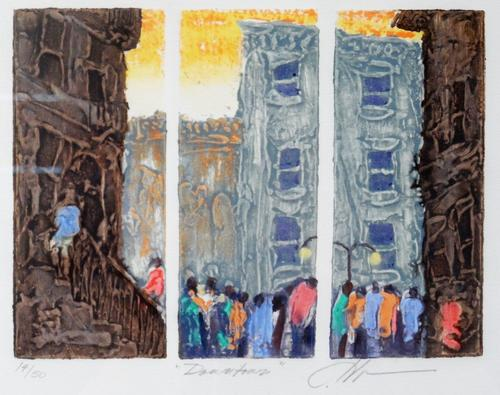 """14/50"" is written along with the title and artist's signature at the bottom margin, in pencil.  Depicts a bustling city street, divided by interior margins into three panels., Donated to the State Black Archives Research Center & Museum by Velma A. Walker., Donated to the State Black Archives Research Center & Museum by Velma A. Walker., Artist's bio: Joseph Holston lives and works in Takoma Park, MD. Holston's paintings and prints have garnered widespread critical acclaim, and his works have been exhibited in museums and galleries worldwide., Digitized by J.F. Drake Memorial LRC; Alabama A&M University."