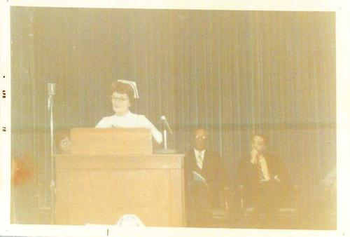 Nursing faculty addressing students at a capping ceremony., Digitized by J.F. Drake Memorial LRC; Alabama A&M University.