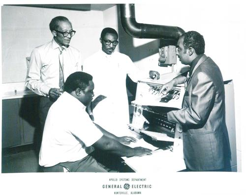 Mr. O'Neal, Mr. Robinson, and two other faculty members in the printing department (OR at GE Apollo Department??), Digitized by J.F. Drake Memorial LRC; Alabama A&M University.