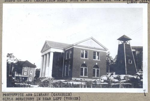 Carnegie Library and Post Office with bell tower. Turner Hall is in the background on the left and the Domestic Science Building in the background on the right.