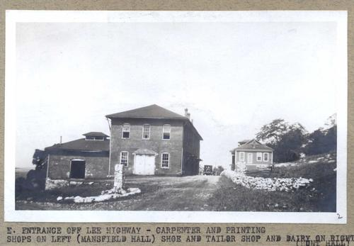 Carpenter, printing, shoe, and tailor shops housed in Mansfield and Hunt Halls.