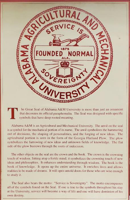 University seal and information about Alabama A&M University.